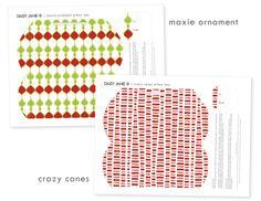 free printable | crazy canes & maxie ornament pillow boxes.