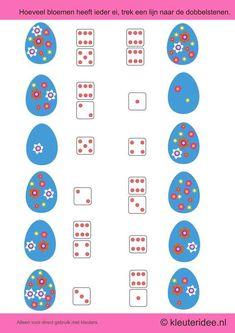 Hoeveel bloemen heeft ieder ei, trek een lijn naar de dobbelstenen, kleuteridee.nl , thema lente voor kleuters,how many flowers, each egg, draw a line to the dice,  free printable.