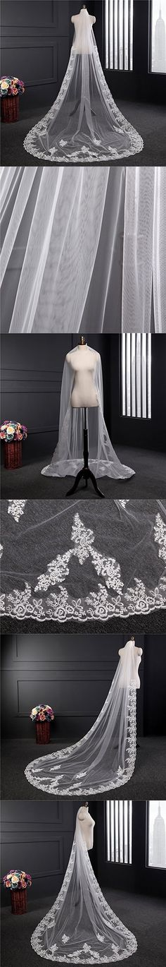 Dzzinme 3m Ivory White Lace Cathedral Wedding Veils Long Bridal Veil With Comb
