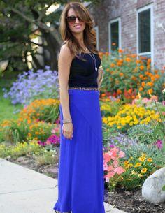 Leopard belt, fringe bag, cobalt blue maxi skirt