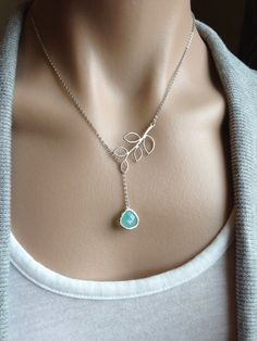 Silver Twig Lariat with  Mint Opal Glass Teardrop   by PiperBlue