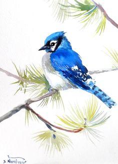 Blue Jay original watercolor painting bird lover by ORIGINALONLY, $25.00