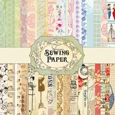 "Printable - Sewing Papers include 32 designer sewing theme papers digital download for $7.95.  The pages are 12"" x 12"" but are jpg files you can re-size, crop and print over and  over on a variety of mediums from paper, card stock, canvas and our fave 'cheating method' of ironing the waxy side of freezer paper to cotton fabric. It makes it stiff enough to feed through your printer and peels off easily so you have printed fabric for all kinds of projects. Just not washable unless laser…"