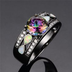 Round Cut Mystic Rainbow Topaz Ring Opal Black Gold Filled Wedding Band Size5-10