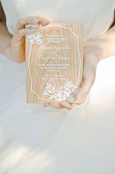 Wedding invite printed onto a piece of wood to save