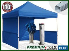"""Eurmax Premium Ez up Canopy Booth Bonus Awning and 4weight Bag(10x10 Feet, Blue) by Eurmax. $389.95. Eurmax premium Canopy booth Includes:Canopy Top, Canopy Frame,back wall,Two(2)1/2walls, Rail bar,Awning,Four(4)Weight bag,Roller Bag.Four(4)Stakes.No loose parts; no tools required.. Wheeled bag with 4.7"""" wheels,The Best design and easy to handle even on rough ground. Canopy top:600 Denier Polyester,Water Resistant,100% UV Protection,Fire Resistant: CPAI-84/ULC S109 & NFPA 701 Fla..."""