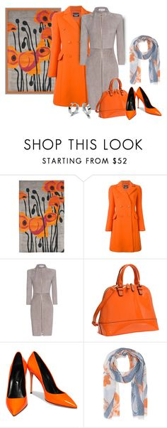 """Shades Of Orange"" by sjlew ❤ liked on Polyvore featuring Safavieh, Boutique Moschino, Jitrois, Dasein, Casadei and Friendly Hunting"