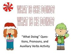 "I have so many students that have a hard time answering questions, using pronouns, and/or using auxiliary verbs.  This activity consists of 14 different action words, 2 on each page.  There are simple sentence structures of ""He is ___"" and ""She is ___.""  I use it and ask my students ""What is she doing?""  and ""What is he doing?""  They then pick out the correct picture and use it to finish the sentence."
