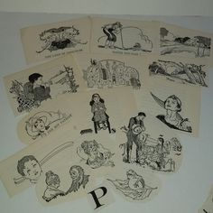 P 14 children's story book reader illustrations clippings 1930's black and white pictures vintage paper supplies ephemera