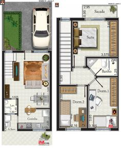 Ryan Shed Plans Shed Plans and Designs For Easy Shed Building! Narrow House Designs, Narrow House Plans, Small House Floor Plans, Duplex House Plans, Apartment Floor Plans, Small House Design, Dream House Plans, Modern House Plans, Building A Small House