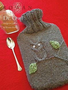 Dr Owl -  hot water bottle cover, a free pattern to download as part of the Pure Wool Worsted Home Décor Online Collection. Designed by Kristen Rettig
