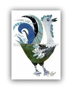 Rooster collage art Giclee print 5 x 7 by JackieGuttusoDesigns