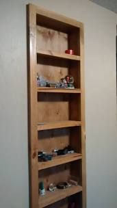 recessed wood nicknac or catchall shelf by mbswood on Etsy Hidden Door Bookcase, Recessed Shelves, Small Bookshelf, Built In Shelves, Diy Kitchen Storage, Diy Furniture, Shelves, Stud Walls, Cool Furniture