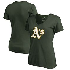 Oakland Athletics Women's Plus Sizes Primary Team Logo Slim Fit T-Shirt - Green