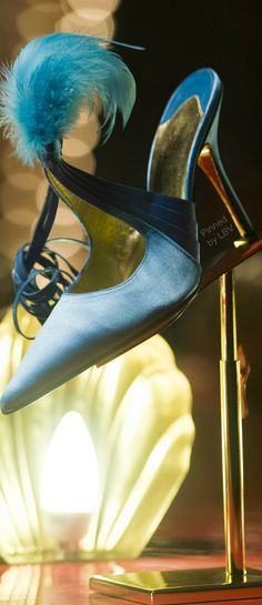 Christian Louboutin ~ Blue Feather Slipper Heel