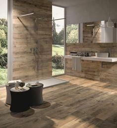 idee deco salle de bain à équipement minimaliste, revêtement bois, comptir minimaliste avec petite vasque ronde