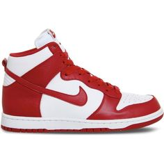 NIKE Dunk high-top leather trainers (£90) ❤ liked on Polyvore featuring shoes, sneakers, red, white red retro qs, retro sneakers, red high tops, nike shoes, nike high tops and nike trainers