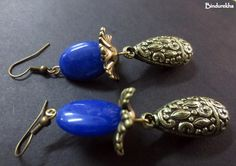 Blue_Oval_Agate_Antique_Long_Drop_Earrings