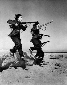 Egyptian women training for Guerilla warfare against the British, 1951