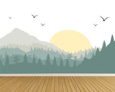 Mountain Wall Decals, Nursery Wall Decals, Forest Wall Decals, Wall Stickers-Baby Nursery Large Mountain Wall Decal-Reusable Wall Decls-Mountain Wall Mural with Trees and Sun-Forest Tree Mur Wall Mural Decals, Nursery Wall Murals, Nursery Decals, Baby Nursery Decor, Wall Stickers, Vinyl Decals, Baby Room Wall Decals, Tree Mural Kids, Kids Room Murals