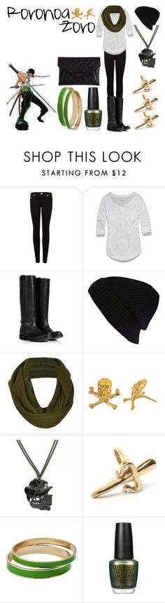 """Roronoa Zoro"" by casualanime ❤ liked on Polyvore featuring True Religion, Abercrombie & Fitch, Fiorentini + Baker, River Island, Topshop, Emily Elizabeth Jewelry, LeiVanKash, OPI, Givenchy and manga"