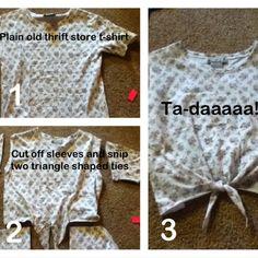 DIY cute crop top shirt