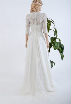 Lace wedding dress with 3/4 sleeve lace bolero by ELDesignStudio