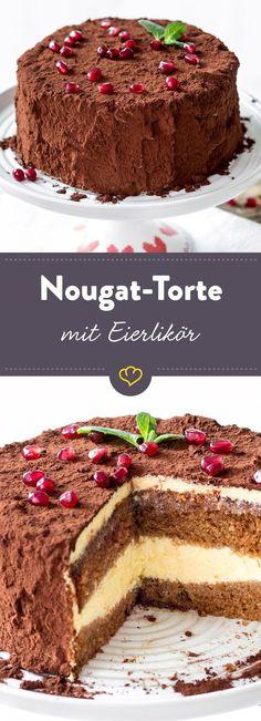 With swings and chocolate: Nougat-Eierlikörtorte – Torten Sweets Recipes, Easter Recipes, Cake Recipes, Cake Recipe Using Buttermilk, Torte Au Chocolat, Nougat Torte, Oreo, German Cake, Sweet Bakery