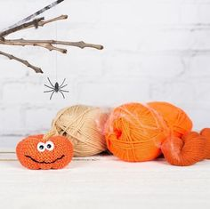 Knitting Pattern for a pumpkin toy, pin cushion or knitted halloween decoration. A great knitting project for your halloween party. Get the Downloadable PDF from LoveKnitting.