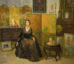 """""""Studio Interior with Model"""", Pauline Lennards Palmer [American, 1867 - 1938 ; Pauline Lennards Palmer became one of the most notable American woman painters to emerge from the Midwest during the early Twentieth Century]"""