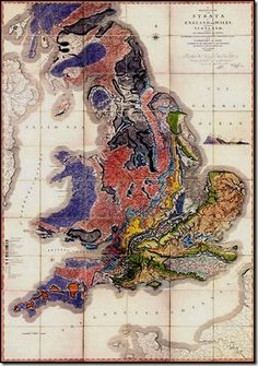 """Strata and geology of England and Wales. One of the earliest ever geologic maps. """"William Smith was ahead of his time."""""""