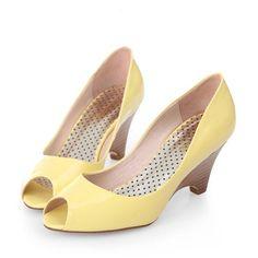 Perfect Women High Heel Shoes White Yellow Honeymoon Graduation Peep Toe Pu Wedge Heel Under 100 Women's Shoes
