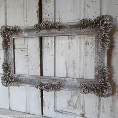 Ornate gray frame large hand painted wall hanging antique French farmhouse style accented bronze and white home home anita spero design