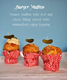 Burger Muffins: Sesame muffins with beef and cheese filling, served with caramelized onion topping.