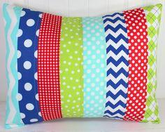 Pillow Cover, Patchwork Pillow Cover, Nursery Decor, Boy Nursery, Throw Pillow, 12 x 16 Inches, Red, Royal Blue, Lime Green, Aqua, Chevron