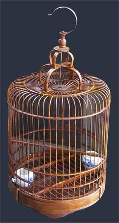 antique chinese bamboo furniture | Antique Chinese Bird Cage Made Wood And Bamboo Plete Pictures