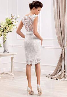 Elegant Cap Sleeve Lace Appliques Button Short Wedding Dress #shortweddingdresses