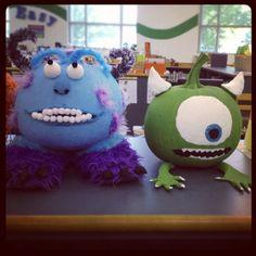 pumpkin decorating ideas for kids | Monsters Inc. pumpkins | no-carve pumpkin decorating ideas