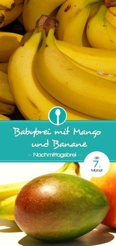 Afternoon porridge with mango & banana - baby porridge recipe from .- Nachmittagsbrei mit Mango & Banane – Babybrei Rezept ab dem Recipe for Baby Porridge Recipe, Porridge Recipes, Mango, No Bake Snacks, Baby Snacks, Slimming Recipes, Nutritious Snacks, Homemade Baby Foods, Grilled Vegetables