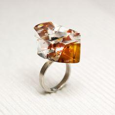 Glass sterling silver ring Prismes02 by belnavarro on Etsy, $89.00