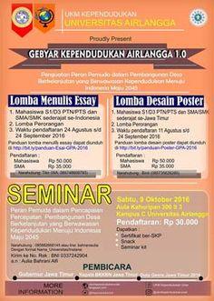 #LombaEssay #LombaDesainPoster #GPA10 #UNAIR #Surabaya Lomba Menulis Essay dan Lomba Desain Poster 2016 Gebyar Kependudukan Airlangga  DEADLINE: 24 September 2016  http://infosayembara.com/info-lomba.php?judul=lomba-menulis-essay-dan-lomba-desain-poster-2016-gebyar-kependudukan-airlangga