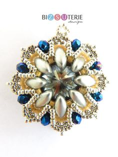 Snowflake pendant - beading pattern with Irisduo beads