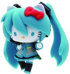 Hello Kitty Vocaloid Miku Hatsune Cosplay Anime Mascot Figure Concert Ver B Sanrio, Miku Hatsune Cosplay, Hello Kitty Imagenes, Imagenes My Little Pony, Anime Figurines, Otaku, Cute Icons, Anime Girls, Manga Girl