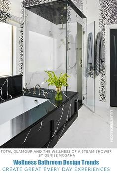 A punchy master bathroom designed by Denise McGaha Interiors features a soaking tub clad in black marble and a coordinating walk-in steam shower. Beautiful Small Bathrooms, Amazing Bathrooms, Zen, Bathroom Trends, Bathroom Ideas, Bathroom Designs, Bathroom Goals, Bathroom Organization, Walk In Shower Designs