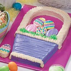 Easter Basket Cake--A 15 X 10 cake is cut into a basket and egg shapes.  Link to diagram for cutting is included in the directions.