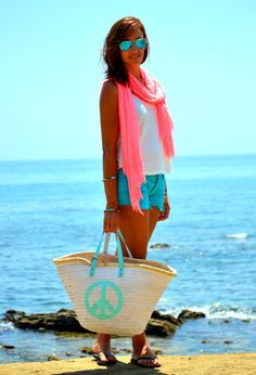 @roressclothes closet ideas #women fashion outfit #clothing style apparel Casual Outfit with Pink Scarf