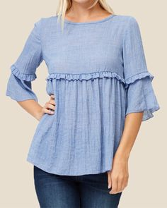 Chambray Ruffled Bell Sleeve Top - Source by sandrasowieso - Kurta Designs, Kurti Designs Party Wear, Blouse Designs, Stylish Tops, Casual Tops For Women, Sleeves Designs For Dresses, Embroidery Fashion, Mode Hijab, Clothes For Women
