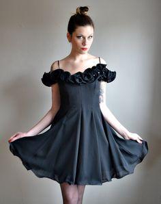 Vtg 80s ROSETTE prom dress //  rhinestone embellished off the shoulder TULLE full skirt ruffle mini dress. $86.00, via Etsy.