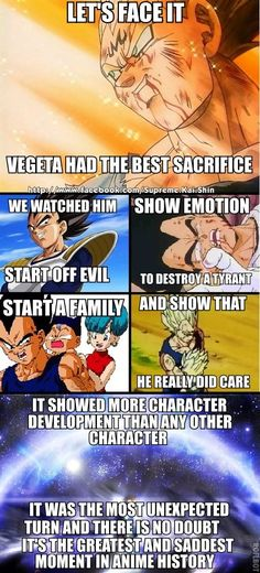 Vegeta. Why he is the greatest character in history. PERIOD.