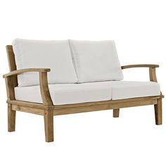 Modway Furniture Modern Marina Outdoor Patio Teak Loveseat in Natural White